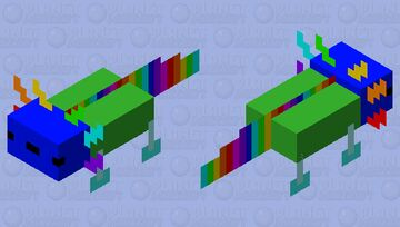 Cyan Rainbow Axolotl (only legs change) Minecraft Mob Skin