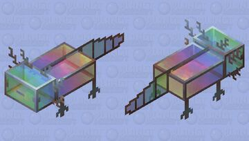 Glass axolotl with metal frame Minecraft Mob Skin