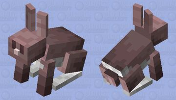 Copper (shade) brown eyes (pink) more realistic rabbit Minecraft Mob Skin