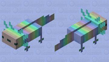 Cyan Rainbow Axolotl Minecraft Mob Skin