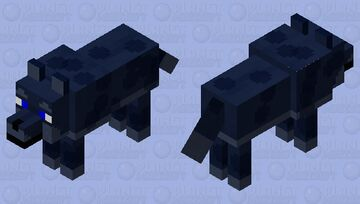 Spotted Midnight wolf with blue eyes Minecraft Mob Skin