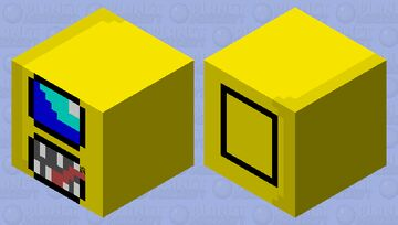 among us orange inside a fake yellow suit shulker box skin Minecraft Mob Skin