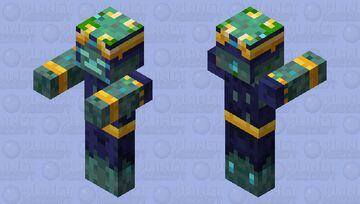 Armored Drowned Minecraft Dungeons Hidden Depths DLC Minecraft Mob Skin