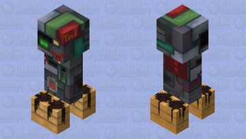 Square Scrapped Creeper (Charged) Minecraft Mob Skin