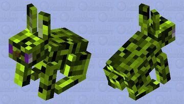 """NooOOO! Don't turn me into a marketable Plushie!"" (Glitchtrap (green & glitchy) as a rabbit) Minecraft Mob Skin"