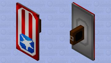 Captain America inspired shield (Off hand slot) + .mcpack file included Minecraft Mob Skin