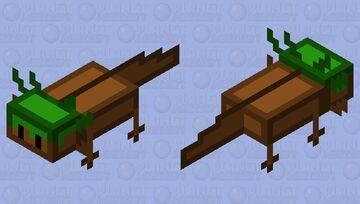 Grass Block Head Axolotl Minecraft Mob Skin