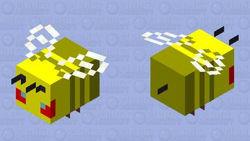 Angry Golden Bee Minecraft Mob Skin