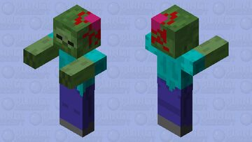 Zombie with brain hanging out Minecraft Mob Skin