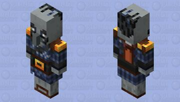 blue bearded pillager with golden blue suit (°  °) Minecraft Mob Skin