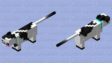 Kawaii White and Black Cat Minecraft Mob Skin