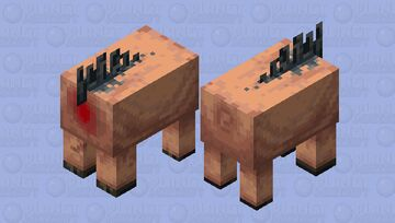 """Might as well continue that old series of """"butchers shop"""" mob skins. So, uh, here's a Hoglin. Minecraft Mob Skin"""