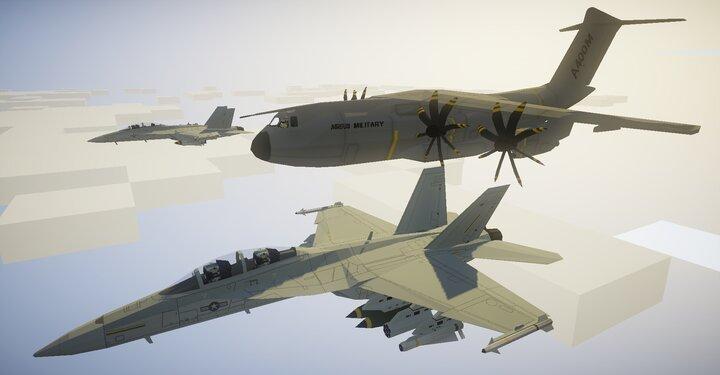 Airbus A400M Atlas and FA-18F Super Hornet