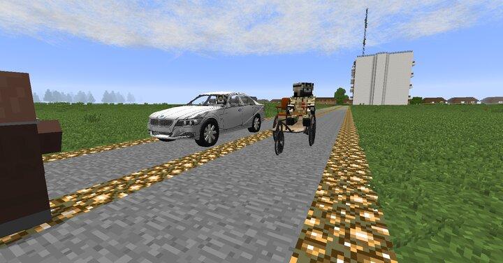 High speed Benz motor wagen race with BMW-E-90