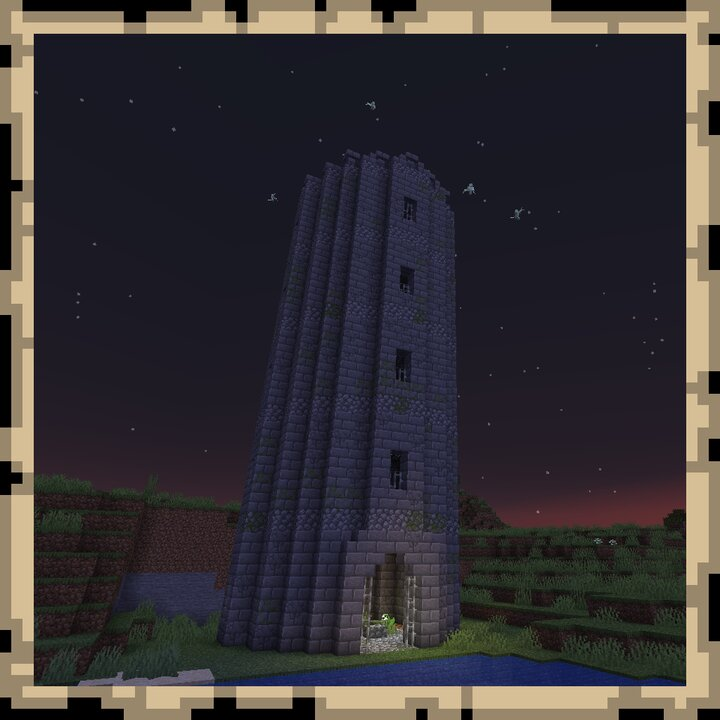Tower - A tower with four mob spawners on each floor. The top floor has a map to the bigger dungeon structure.