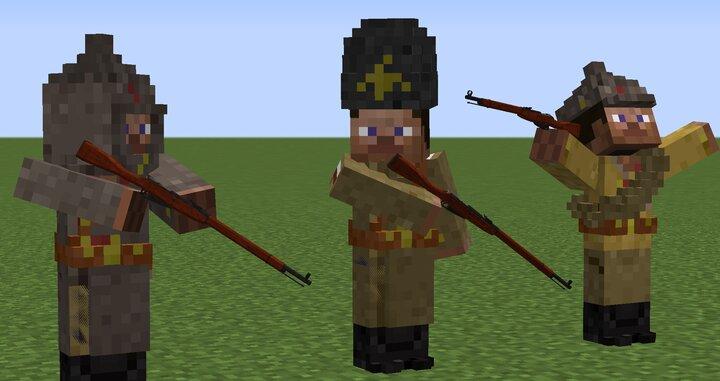 Bolshevik in winter uniform, Russian in winter uniform, Bolshevik in Summer uniform.