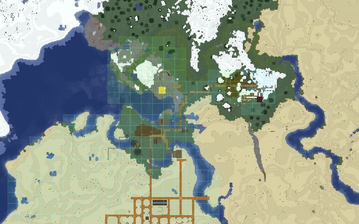 Screenshot of Dynmap Add-On showing faction territory and warp markers the anchor
