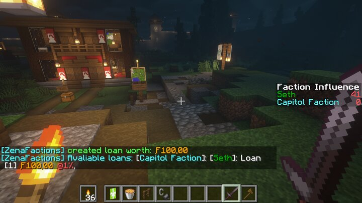 Showcase of loans and the listloans command. Factions can create loans at a certain interest rate that players may then take.