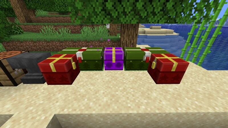 From left normal single chest, normal double chest, enderchest, double trapped chest, single trapped chest
