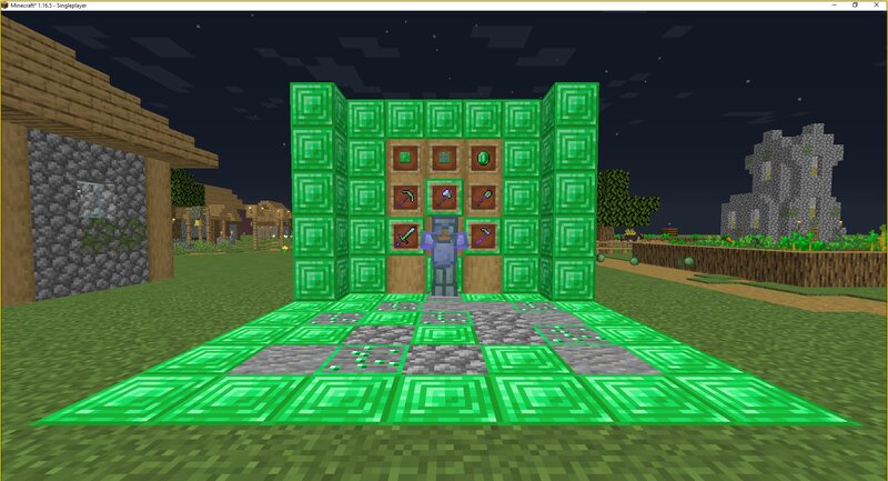 ENCHANTED EMERALD ARMOR WITH TOOLS DISPLAY