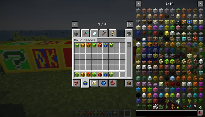 This is the tab for the blocksspaces. Even though there probably won't be a whole lot more blocks I'll add into the mod, I thought I'd keep them separate from each other.