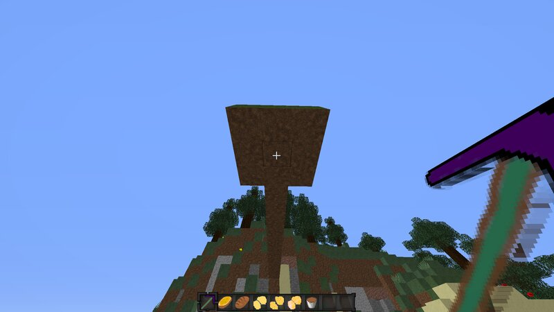 Ender Pickaxe lets you teleport where you click if under a block like on picture, you will be teleported on top, like next picture