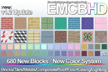 Essential Modern Construction Block HD (EMCB HD) for Creative Constructions (1.12.2, 1.14.4, 1.15.2 and 1.16.4) Minecraft Mod