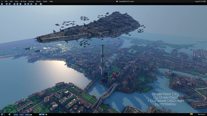Minecraft maps Greenfield city and Cuirass DSD-401 by MrBatou imported and combined together in Avoyd voxel editor