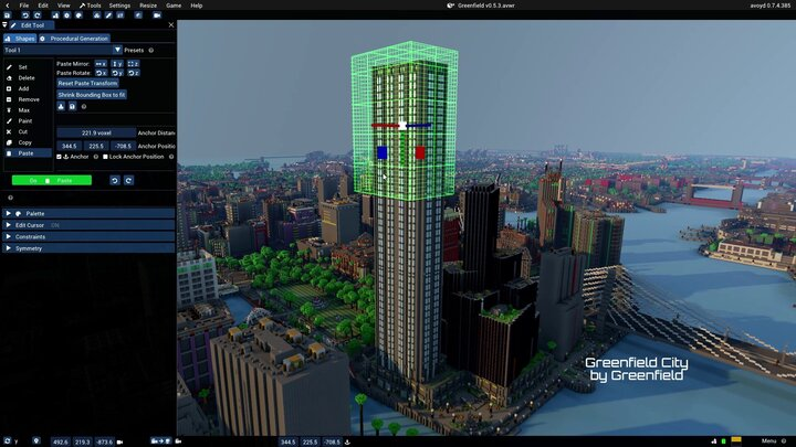 Greenfield city - using Avoyd's copy and paste edit tool to increase the height of a tower. Shows the edit cursor green wireframe and the anchor guizmo for precision placement