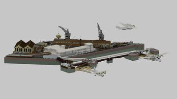 Southampton BOAC Flying Boat Terminal 1950 Diorama, 1,5:1 Minecraft Map & Project
