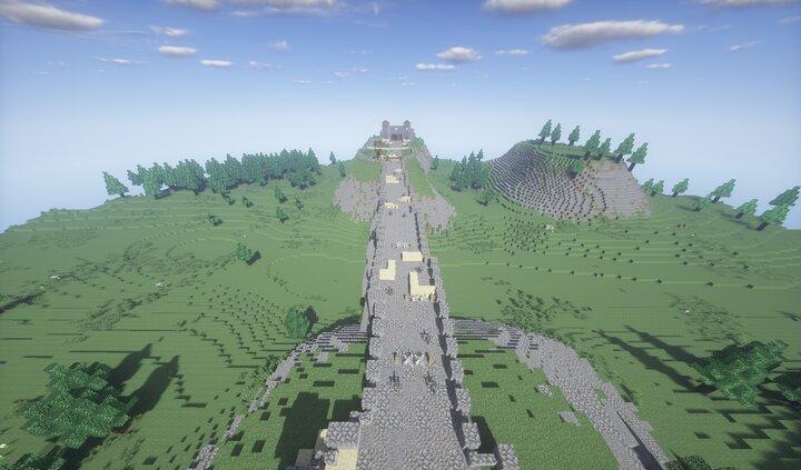 Bridge with defences set up