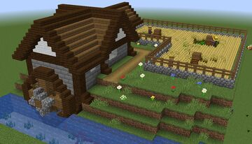 River's Edge Water Mill and Wheat Farm Minecraft Map & Project