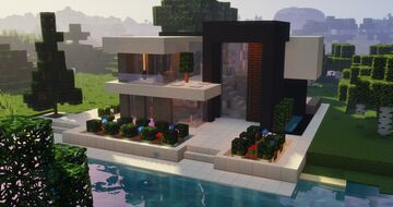 Easy Modern House with full Interior - Modern Style Build Tutorial - Contemporary House Minecraft Map & Project