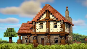 Simple & Cozy Medieval House Minecraft Map & Project
