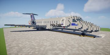 [5:1] American Eagle Embraer E-140 Minecraft Map & Project