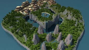 Survival Floating Islands with Canyons, Stone Forest, and Custom Jungle Temple [1k/1k Download] Minecraft Map & Project