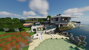 Modern Beach House for Billionaire Minecraft Map & Project