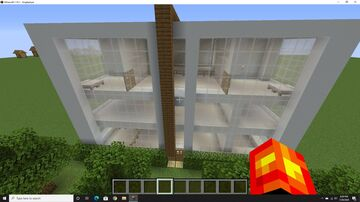 Modern House with Lava Bridge and Water Roller Coaster Minecraft Map & Project