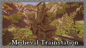 Dark Medieval Trainstation Minecraft Map & Project