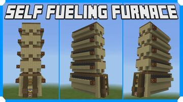 How To Build A Self Fueling Furnace & Bamboo Farm Minecraft Map & Project