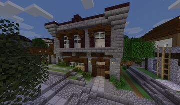 Turtle Bay City Block - Row Offices and shops (Built in 1.14 with world map download) Minecraft Map & Project