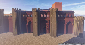 Minecraft replica of the Palacio de la Aljafería, Zaragoza, Spain. Minecraft Map & Project