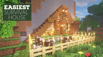 EASIEST AND CHEAPEST STARTER SURVIVAL MOUNTAIN HOUSE :MINECRAFT : HOW TO BUILD IN MINECRAFT Minecraft Map & Project