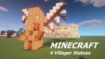 4 Unique Villager Statues in a Zandstone Castle Minecraft Map & Project