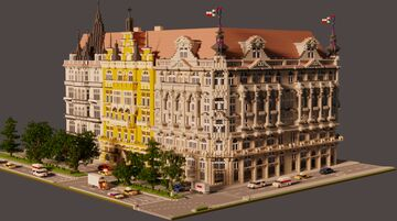 Minecraft Façades | Prague row buildings + DOWNLOAD (Schematic) Minecraft Map & Project