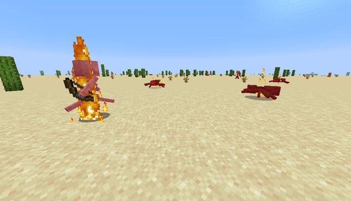 Mobs burning under the harsh sun