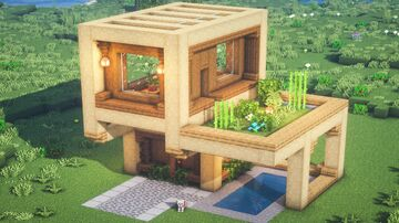 Wooden Modern House Minecraft Map & Project