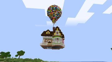 I built my version of Up house in a friend's smp Minecraft Map & Project
