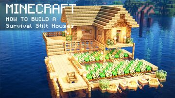 Minecraft: How To Build a Survival Stilt Houses on water Minecraft Map & Project