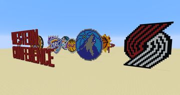 NBA Western Conference Teams pixel art Minecraft Map & Project
